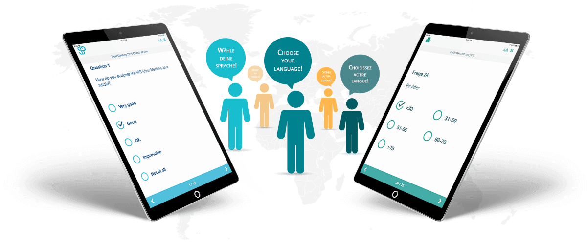 A multitude of languages for surveys and questionnaires.